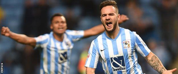 Coventry City's Adam Armstrong celebrates