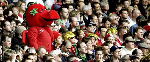 Wales fans watch the 1999 game against England at Wembley