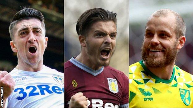 Leeds United's Pablo Hernandez, Aston Villa's Jack Grealish and Norwich City's Teemu Pukki were all named in the PFA Championship team of the year