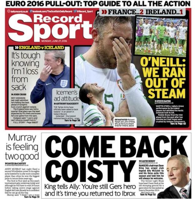 Daily Record back page