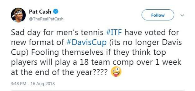 Pat Cash tweets about Davis Cup reform