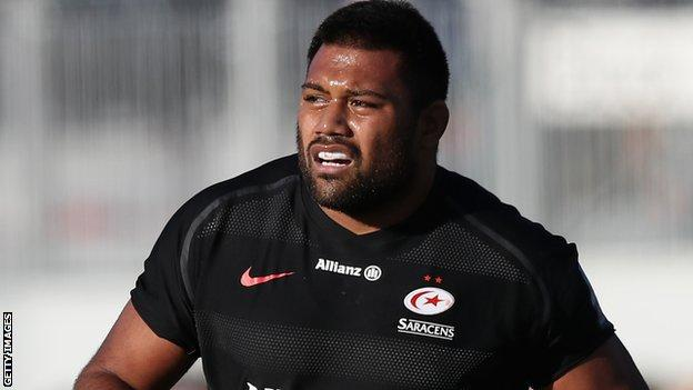 Christopher Tolofua in action for Saracens