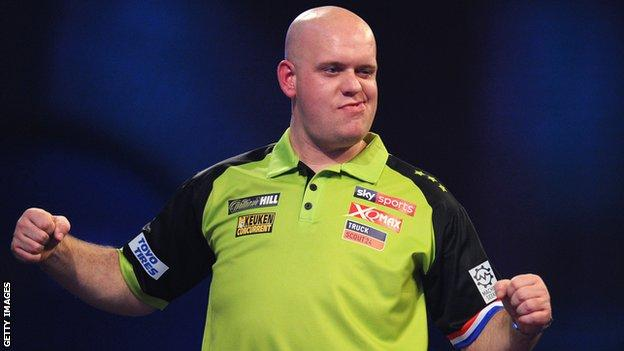 Michael van Gerwen celebrates during victory over Ricky Evans at the PDC World Championship