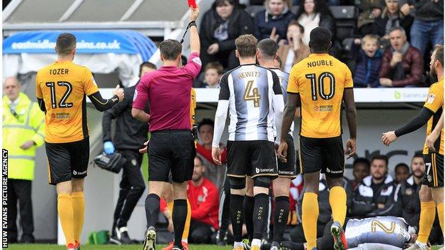 Newport defender Dan Butler was sent off in the 3-0 loss at Notts County