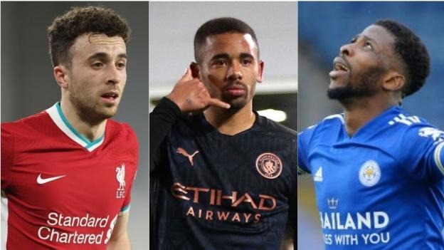 Diogo Jota (Liverpool), Gabriel Jesus (Manchester City), Kelechi Iheanacho (Leicester City)