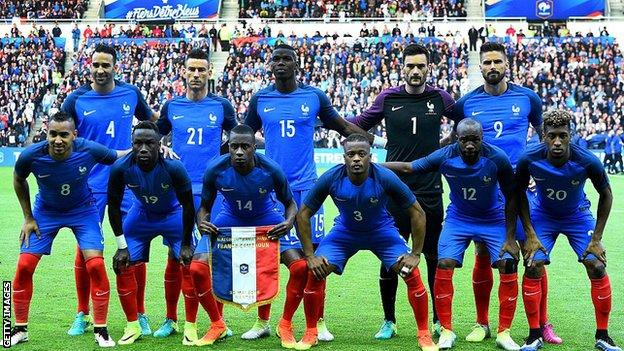 France's starting XI for the recent win over Cameroon