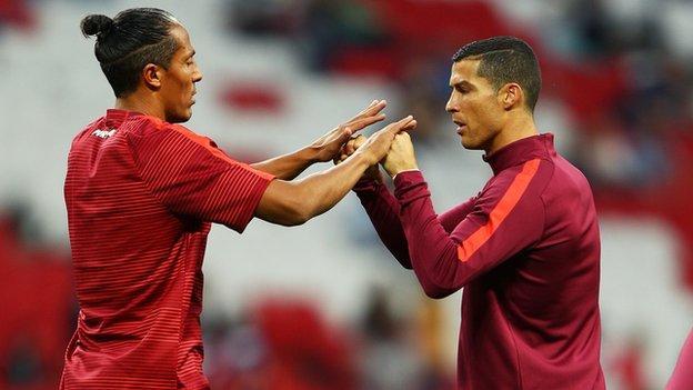 Rangers defender Bruno Alves with Ronaldo