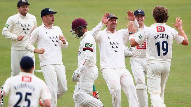 Sussex players Ed Joyce, Luke Wright, Chris Nash, Ben Brown and Matt Hobden celebrate a wicket