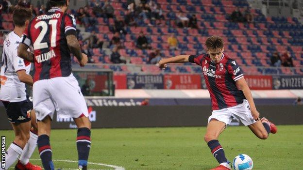 Aaron Hickey opened the scoring for Bologna against Genoa with his first Serie A goal