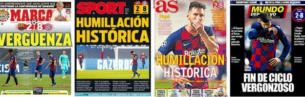 """""""Historical humiliation,"""" """"Shame"""" and """"End of shameful cycle"""" were some of the headlines on the front of the Spanish sports newspapers on Saturday"""