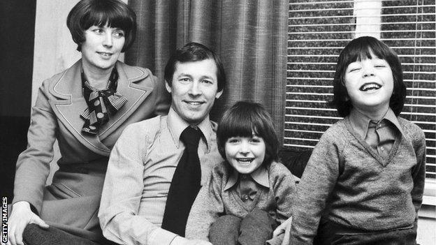 Sir Alex Ferguson with wife Cathy and twins Jason and Darren