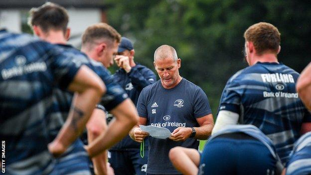 environment Stuart Lancaster with his Leinster players