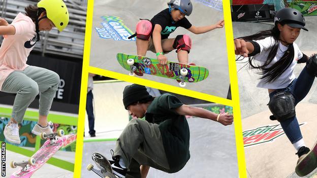 Some of Japan's Olympic skateboarders: Momiji Nishiya (left), Misugu Okamoto (centre, top), Ayumu Hirano (centre, bottom) Kokona Hiraki (right)