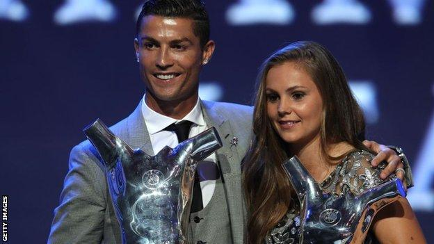 Lieke Martens was named Uefa Women's Player of the Year 2017 with Real Madrid's Cristiano Ronaldo winning the men's award