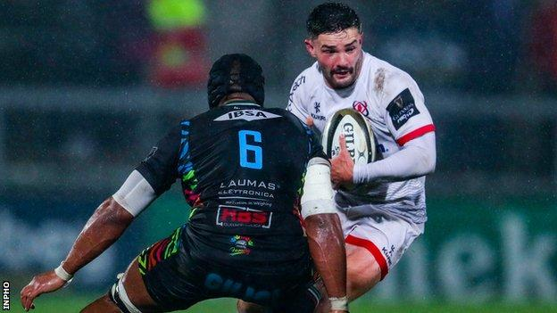 Bill Johnston attempts to get past Maxime Mbanda during Ulster's win over Zebre last weekend