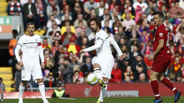 Andrea Pirlo in action at Anfield on Saturday