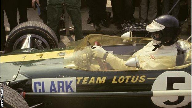 Jim Clark sitting in his Lotus car