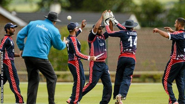 USA celebrate a wicket against Jersey
