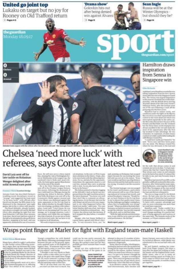 The Guardian back page leads with Chelsea manager Antonio Conte complaining about his sides bad luck