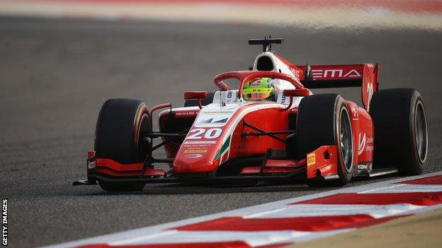 Mick Schumacher driving for Prema Racing at the Formula 2 Sakhir Sprint Race in Bahrain