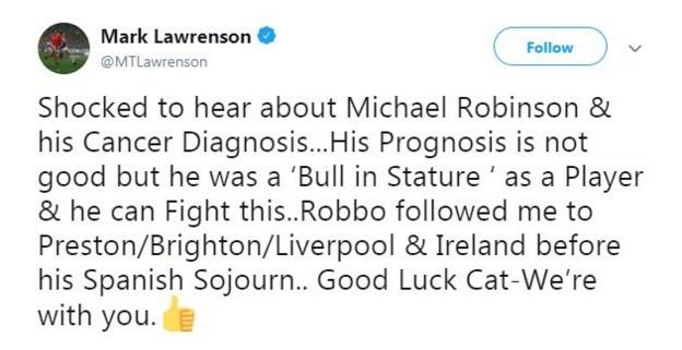 Robinson's former team-mate Mark Lawrenson offered his support