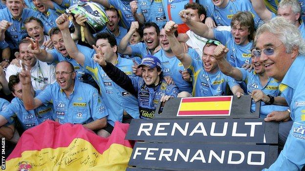 Fernando Alonso celebrates winning world title