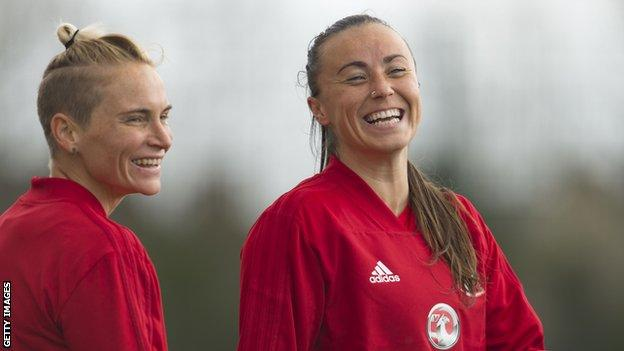 Jess Fishlock and Natasha Harding