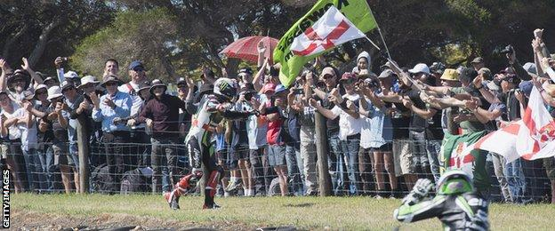 Jonathan Rea celebrates his Phillip Island double with fans