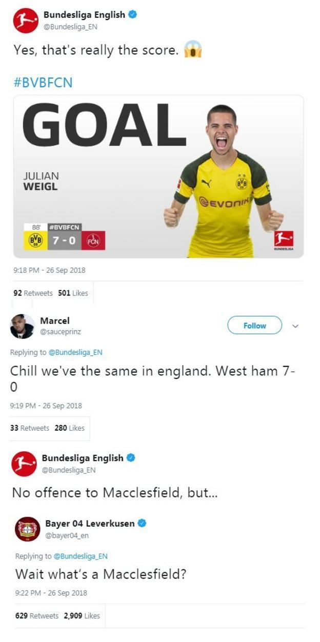"Bayer Leverkusen's twitter account asks 'What's a Macclesfield"""