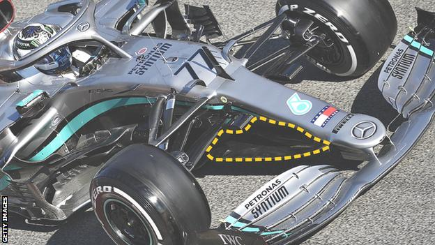 Mercedes during testing showing the 'cape'