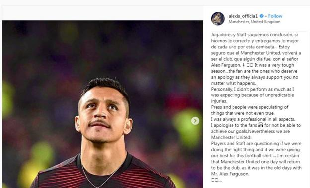 Alexis Sanchez's Instagram account