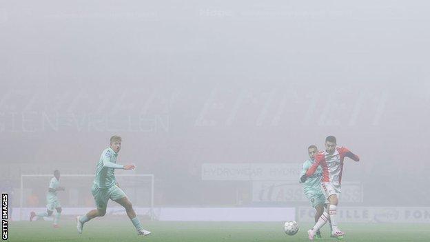 Fc Emmen 1 1 Ado Den Haag Fireworks From Outside Stadium Suspend Play Bbc Sport