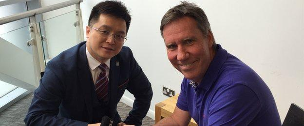 New Villa owner Tony Xia was interviewed by BBC WM's Mark Regan