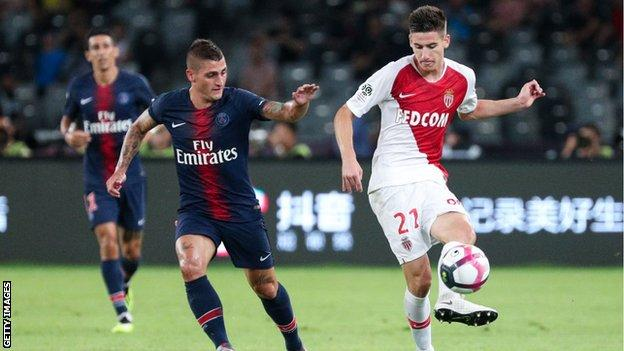 Julien Serrano goes up against PSG's Marco Veratti in 2018