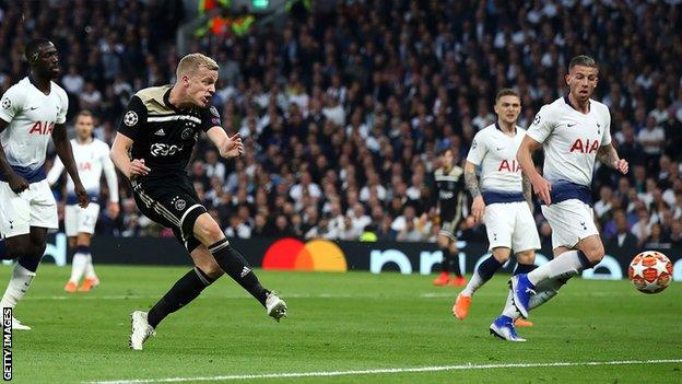 Donny van de Beek scores for Ajaxk against Tottenham in the 2018-19 Champions League semi-finals