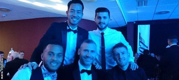 Maya Yoshida, Shane Long, Kelvin Davis, Ryan Bertrand and Steven Davis all dressed smartly for Southampton's party