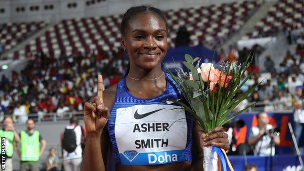 Dina Asher-Smith celebrating winning women's 200m at the 2019 Diamond League event in Doha, Qatar