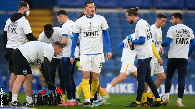 Brighton players wore anti-European Super League t-shirts in the warm-up