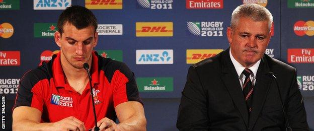 Sam Warburton and Warren Gatland in the media conference after Wales' 9-8 defeat by France in the 2011 World Cup semi-final