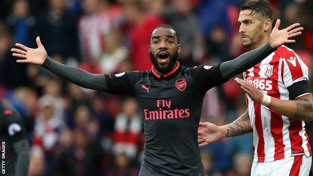 Lacazette thought he had struck for Arsenal at Stoke