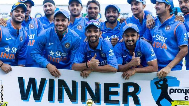 India celebrate winning the one-day series
