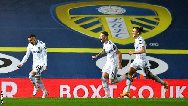 Leeds players celebrate Rodrigo's goal