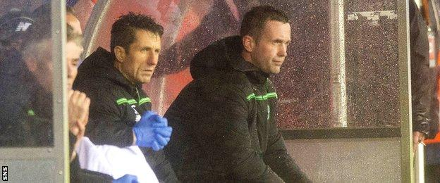 John Collins and Ronny Deila watch on as Celtic slump to defeat