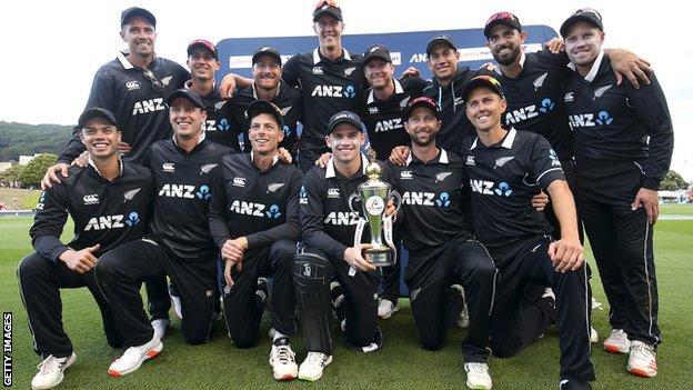 New Zealand with their ODI trophy