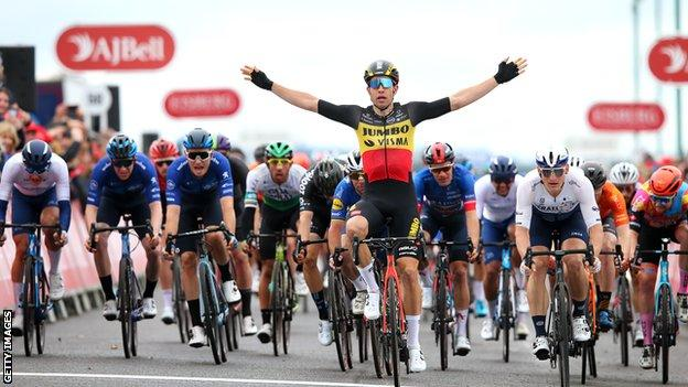 Belgium's Wout van Aert claims victory on the final stage of the Tour of Britain