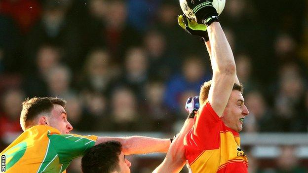Castlebar and Mayo star Barry Moran shows his high fielding ability