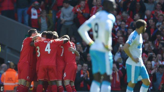 Liverpool celebrate Daniel Sturridge's opening goal