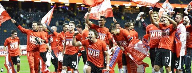 Austria celebrate their qualification