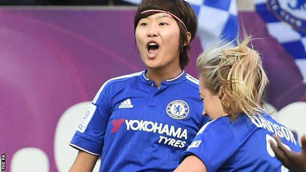 Chelsea's Ji So-yun celebrates a goal