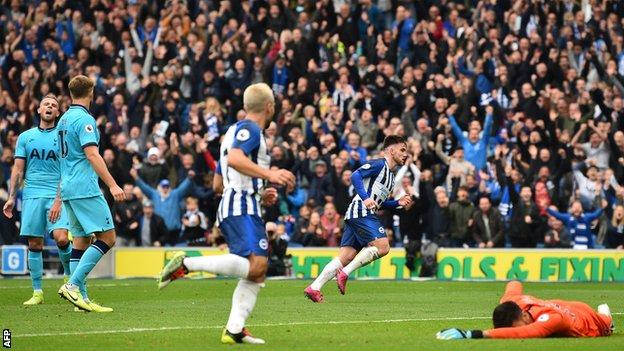 Aaron Connolly celebrates after scoring his second goal against Tottenham